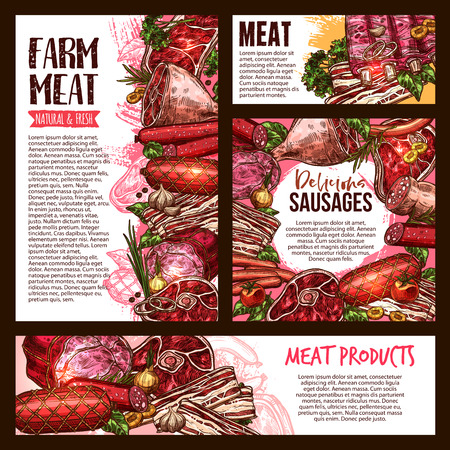 Meat and sausage product banner template set Иллюстрация