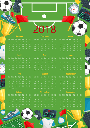 Soccer calendar template of football sport game Illustration