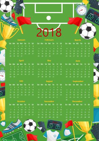 Soccer calendar template of football sport game Illustration