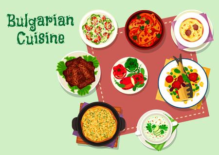 Abendmenüikone der bulgarischen Küche für Lebensmitteldesign Standard-Bild - 90810297