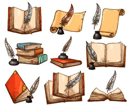 Vecchio libro, rotolo di carta e set penna piuma schizzo