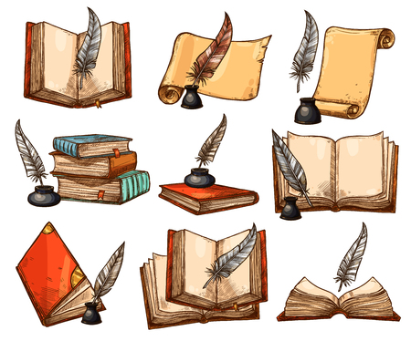Vieux livre, rouleau de papier et jeu de croquis de plume