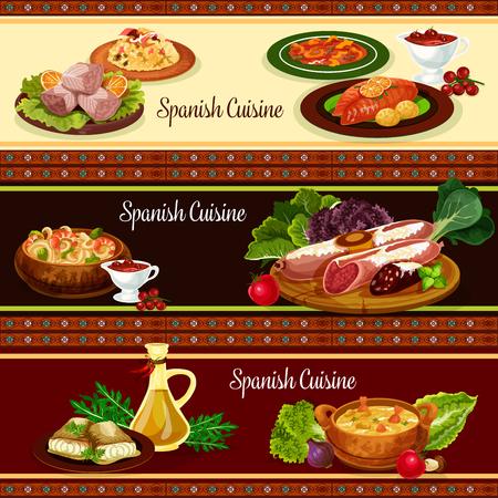 스페인 요리 고기와 해산물 요리 배너 세트 일러스트