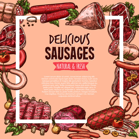 Meat, beef and pork sausage poster, food design