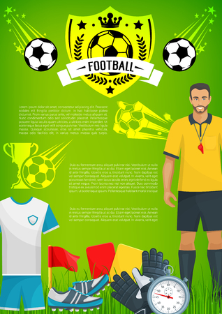 Football sport game banner with soccer club badge Ilustrace