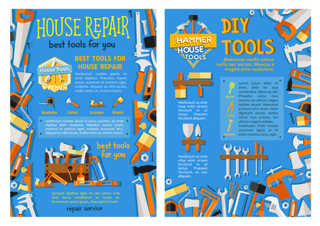 House repair work tool, hand instrument poster set Ilustrace