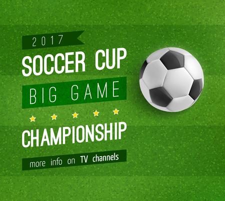 Soccer ball on football field poster, sport design