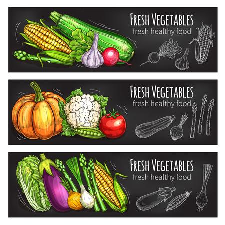 Vegetable and bean chalkboard banner, food design