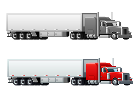 Trailer truck long vehicle vector isolated icons.