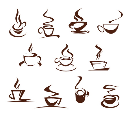 Vector coffee cups for cafeteria cafe icons set.