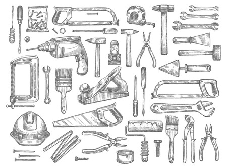 Vector work tools sketch icons for house repair. Stock Illustratie