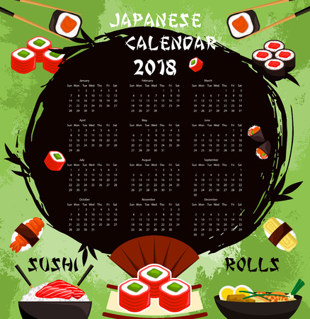 Vector Japanese sushi food calendar 2018