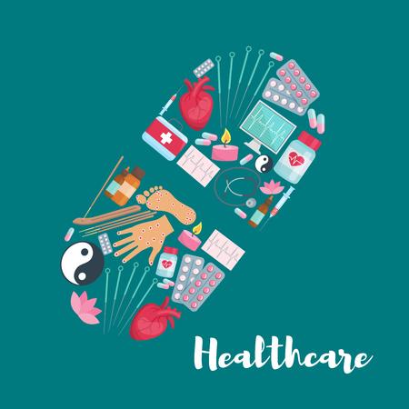 Vector pil poster van medische gezondheidszorg. Stock Illustratie