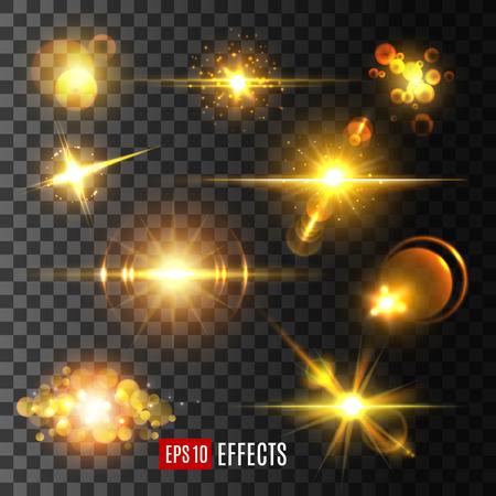 Vector gouden licht flitsen en sterren schitteren pictogrammen