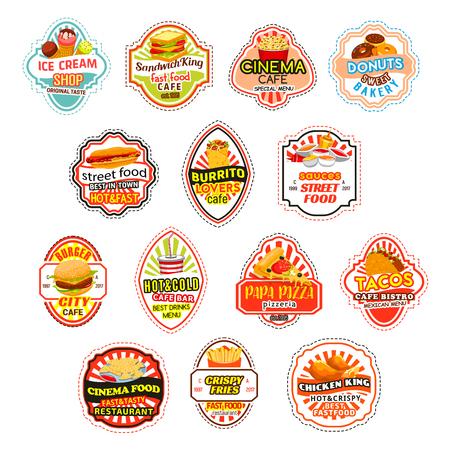 Fast-food maaltijden vector fastfood pictogrammen