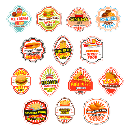 Fast food meals vector fastfood icons