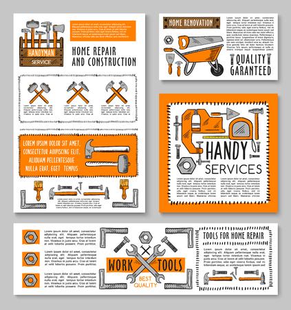 벡터 작업 도구 집 수리 스케치 포스터