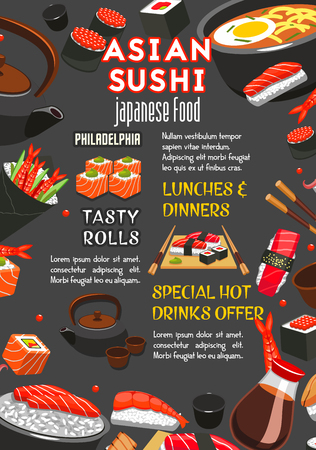 Vector poster for Asian Japanese sushi restaurant Illustration