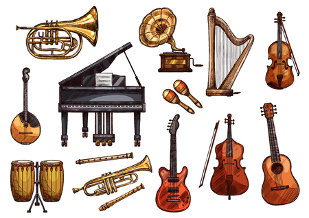 Vector music concert sketch instruments icons Ilustracja