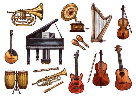 Vector muziek concert schets instrumenten pictogrammen Stock Illustratie