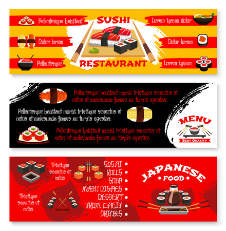 Vector menu banners for Japanese sushi restaurant Иллюстрация