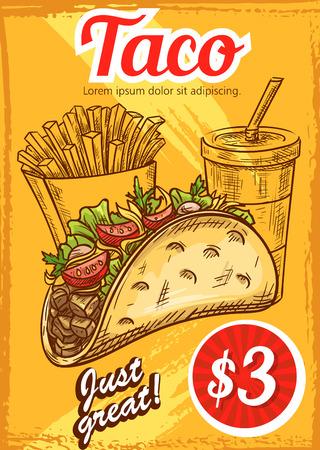 Fast food vector tacos fries coffee sketch menu.
