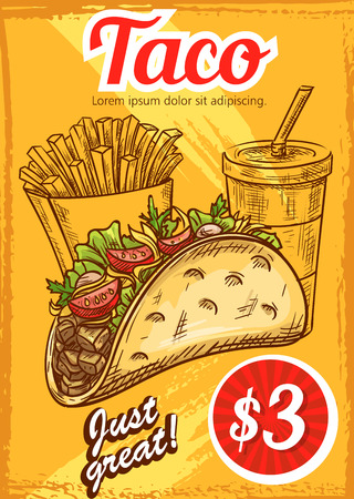 Fast food vector tacos fries coffee sketch menu. Stock Vector - 90587366