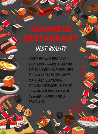 Vector poster for Japanese cuisine restaurant menu.