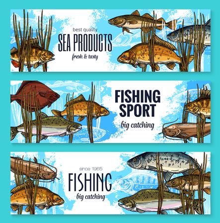 벡터 물고기 스케치 배너 낚시 스포츠 시장