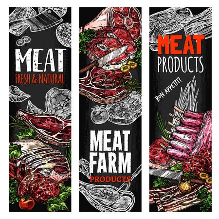 Vector schets vlees boerderij vers product banners