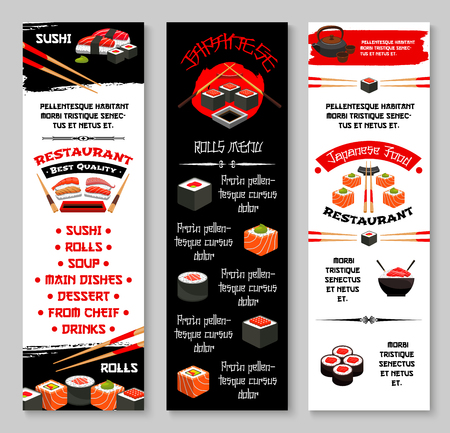 Vector menu banners for Japanese sushi restaurant 向量圖像