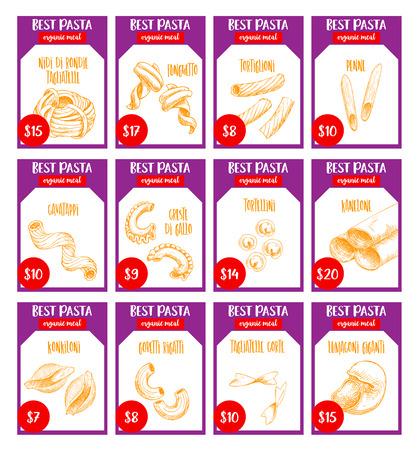 벡터 파스타 스케치 가격 카드 이탈리아 레스토랑