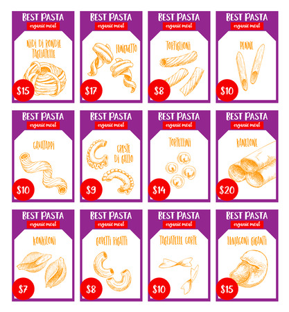 Vector pasta sketch price cards Italian restaurant Illustration