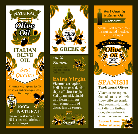Vector olives banners for Italian olive oil