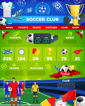 Vector web site template for soccer team club. Stok Fotoğraf - 90587409