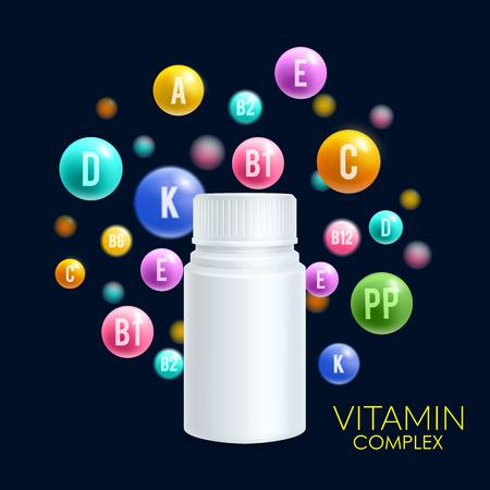 Vitamin complex vector 3D plastic bottle pills Stock Illustratie