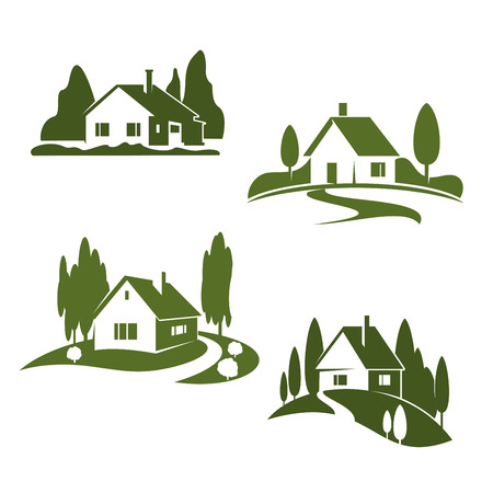 Vector green house farm forest icons