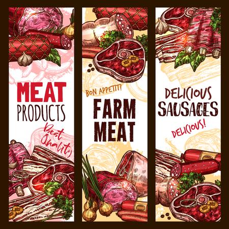 Vector schets boerderij vlees productbanners