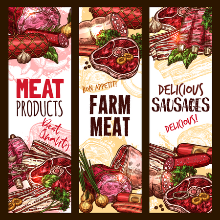Vector sketch meat farm product banners