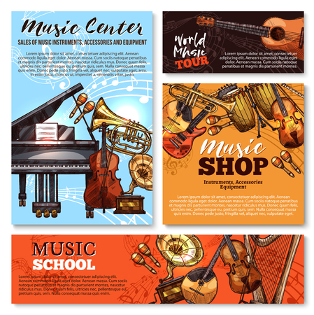 Vector sketch musical instruments shop posters