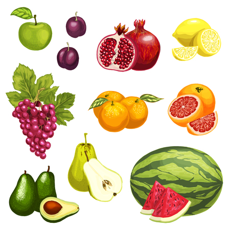 Vector flat icons of tropical exotic fruits