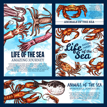 Vector sea life posters of sketch fish animals Ilustracja