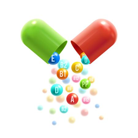 Tabletki witaminowe wektor plakat kapsułki 3D Ilustracje wektorowe