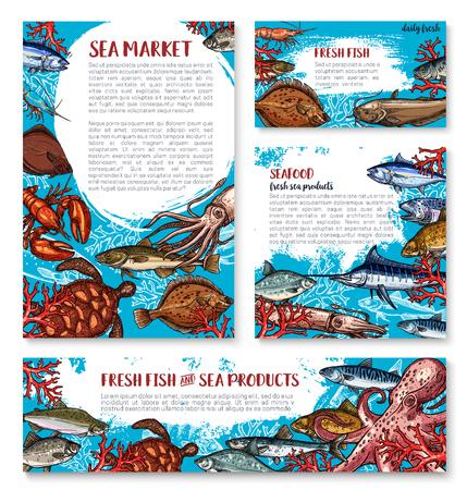 Vectorzeevruchtenaffiches van schets verse vissen