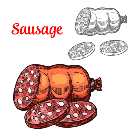 Vector sketch meat sausage farm product icon