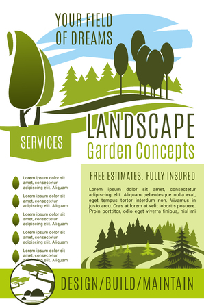 Vector poster gardening landscape design company Illustration