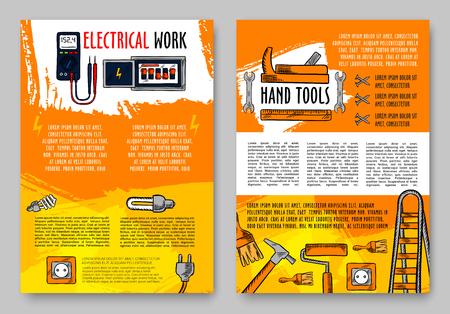 Vector home repair sketch handy work tools poster
