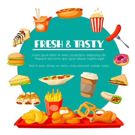 Fast food vector icons for fastfood restaurant Illustration