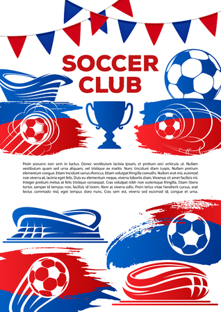 Vector football poster for soccer game cup Ilustracja