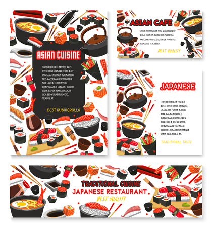 Vector Japanese cuisine poster for sushi food Иллюстрация